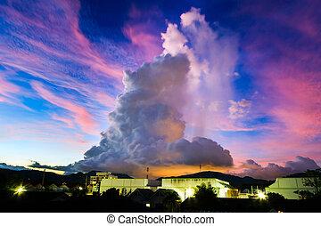 stadt, groß, aus, erstaunlich, nacht, wolke