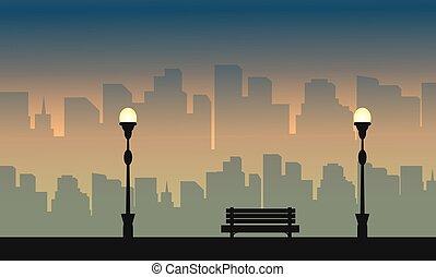 stadt, groß, silhouetten, lampe, straße, landschaftsbild