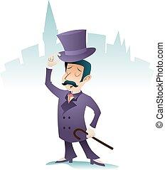 stadt, groß, vektor, geschäftsmann, weinlese, zeichen, gruß, abbildung, karikatur, beifallsruf, herr, design, retro, hintergrund, englisches , stilvoll, ikone, viktorianische , britannien, treffen