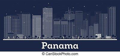 stadt, grobdarstellung, panama, skyline, weißes, gebäude.