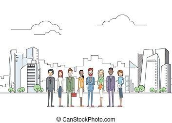 stadt, gruppe, geschäftsmenschen, groß, aus, mitarbeiter, mannschaft, geschäftsführung , ansicht