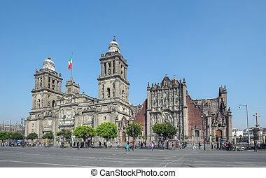 stadt, hauptstädtisch, mexiko, annahme, kathedrale, mary