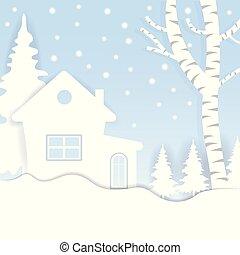 stadt, haus, winter., dorf, snow., ansichten