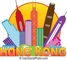 stadt, hong, farbe, abbildung, kong, skyline, kreis