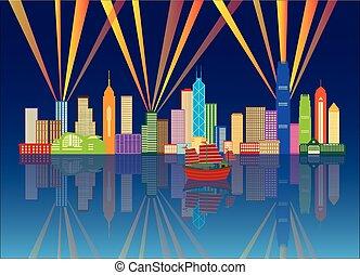 stadt, hong, farbe, panorama, abbildung, kong, skyline, nacht