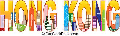 stadt, hong, farbe, text, abbildung, kong, skyline