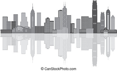 stadt, hong, panorama, grayscale, abbildung, kong, skyline