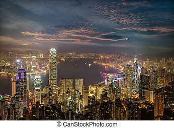 stadt, hong, porto , panorama, kong, skyline, nacht,...