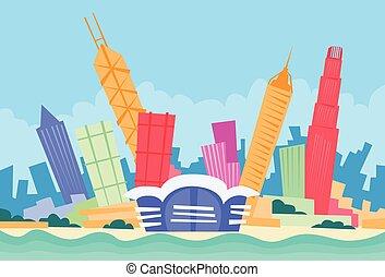 stadt, hong, silhouette, kong, skyline, wolkenkratzer