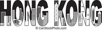 stadt, hong, text, abbildung, kong, skyline, schwarz, weißes