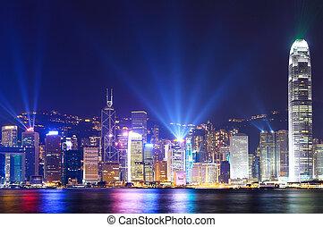 stadt, hongkong, skyline, nacht, ansicht