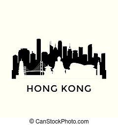 stadt, hongkong, skyline.