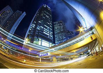 stadt, hongkong, stadtzentrum, verkehr, nacht