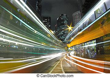 stadt, hongkong, verkehr, nacht
