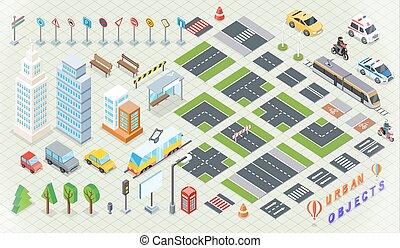 stadt, isometrisch, infrastruktur, teil