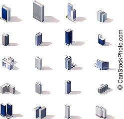 stadt, isometrisch, satz, gebäude, vektor, ikone