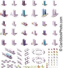 stadt, isometrisch, vektor, satz, gebäude