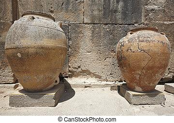 stadt, keramisch, töpfe, griechenland, ruinen, phaestos, crete.