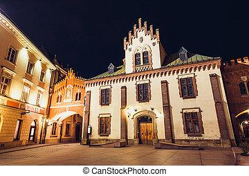 stadt, krakow, altes , czartoryski, museum, nacht, polen