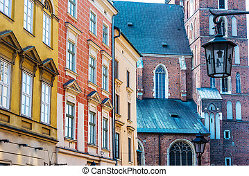 stadt, krakow, polen, historisch, architektur, altes