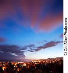 stadt, landschaftsbild, nacht