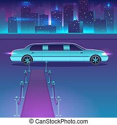 stadt, landschaftsbild, städtisch, vektor, luxus, nacht, front, limousine, metropolis., roter teppich