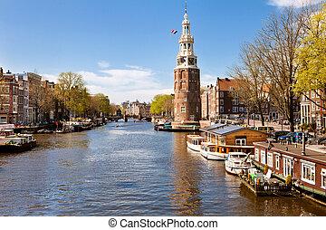 stadt, landschaftsbild, von, amsterdam, niederlande