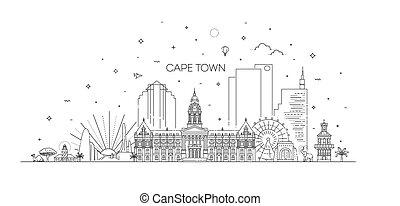 stadt, linie, skyline, abbildung, kap, architektur