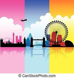 stadt, london, bunte