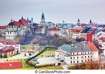stadt, lublin, altes , poland., panorama