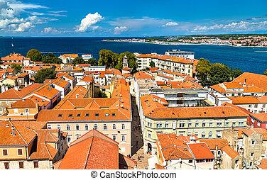 stadt, luftaufnahmen, kroatien, zadar, altes , ansicht