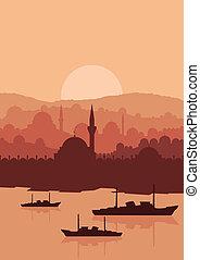 stadt, magisches, istanbul, türkisch, vektor,...
