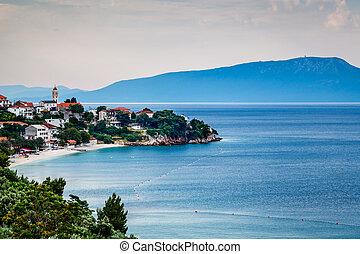 stadt, makarska, insel, brac, hintergrund, kroatien,...