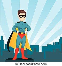 stadt, mann, superhero, aufpassen
