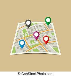 stadt, markers., landkarte