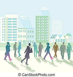 Stadt Mensch - People walking on the street, city view