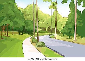 stadt, modern, park, vektor, grüner wald, straße