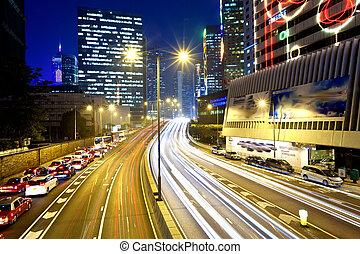 stadt, modern, verkehr, nacht