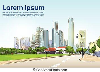 stadt, modern, wolkenkratzer, hintergrund, cityscape, straße, ansicht