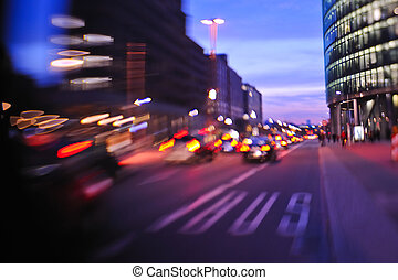 stadt, nacht, mit, autos, bewegung, verwischt, licht, in, beschäftigte straße