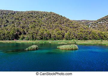 stadt, nationalpark, skradin, krka, kroatien, fluß