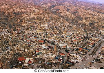 stadt, oben, cappadoccia, ansicht