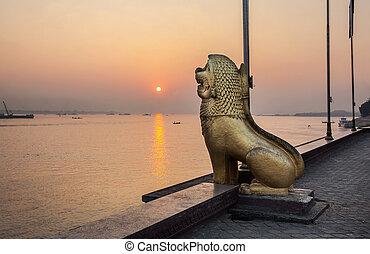 stadt, palast, königlicher park, löwe, cambodia., statue, phnom penh