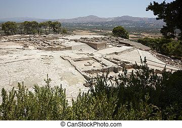 stadt, palastartig, minoan, griechenland, ruinen, phaestos, crete.