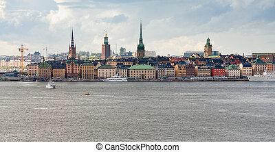 stadt, panorama, tag, herbst, schweden, stockholm