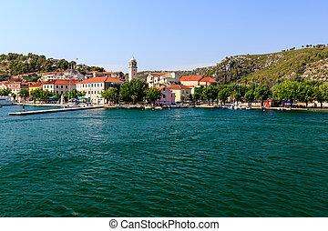 stadt, park, national, krka, skradin, kroatien, fluß