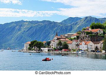 stadt, perast, in, bucht, von, kotor, montenegro