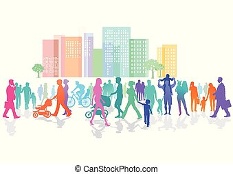 Stadt-Personen-.eps - colorful crowd in the city