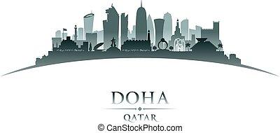 stadt, qatar, silhouette, doha, skyline, hintergrund, weißes
