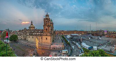 stadt, quadrat, zocalo, hauptstädtisch, mexiko, kathedrale